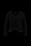 Image de FSTVL by MS Mode Mesdames T shirt manches longues au décor boutonné Noir