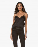 Image of ANINE BING Camisole Belle Silk in Black with Lace