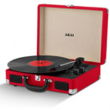 Immagine di Akai Rechargeable Portable Briefcase Turntable with Built In Speaker Red
