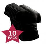 Afbeelding van 10 pack Beeren t shirt korte mouw V hals Zwart.