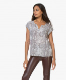 Abbildung von Repeat Dress Pure Silk Shirt with Snake Print in Off white/Grey