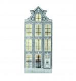 Afbeelding van Invotis waxinelicht houder metaal huisje Amsterdam Klokgevel