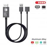 Afbeelding van gsmschermkapot 2 in 1 Type C + MHL Micro usb naar HDMI kabel zilver