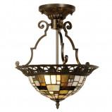 Afbeelding van Clayre & Eef villads plafondlamp in Tiffany stijl, voor woon / eetkamer, glas, polyresin, E14, 40 W, energie efficiëntie: A++, H: 41 cm