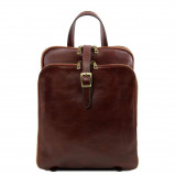 Image of 3 Compartments leather backpack Brown