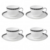 Image of Aynsley China Mozart Set of 4 Teacups and Saucers