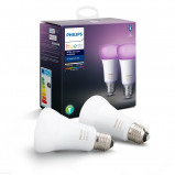 Afbeelding van Philips Hue Bluetooth White & Color Ambiance E27 Lichtbron Duo Pack Wit