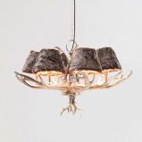 Afbeelding van kare Huntsmann kroonluchter met kunsthuiskleuren, voor woon / eetkamer, ijzer, aluminium, textiel, E14, 25 W, energie efficiëntie: A++, H: 66 cm