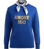 Immagine di Maglione 5 Progress in lana color blu royal con foulard applicato