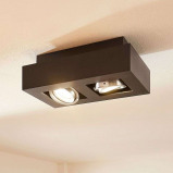 Afbeelding van 2 lamps LED plafondlamp Vince in zwart, Lampenwelt.com, voor hal, aluminium, GU10, 5 W, energie efficiëntie: A++, L: 25 cm, B: 14 H: 8.5 cm