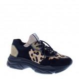 Afbeelding van Bronx Baisley Leopard leren chunky sneakers zwart/bruin