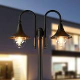 Afbeelding van 2 licht lantaarnpaal Lilou van aluminium, Lampenwelt.com, drukgietaluminium, polycarbonaat, E27, 100 W, energie efficiëntie: A++, H: 220 cm