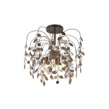 Abbildung von Country Ceiling Lamp Rust Brown with Leaves and Crystal Droplets Serga