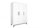 Afbeelding van Bopita 3 deurskast Levi white/grey wash