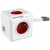 Afbeelding van Allocacoc PowerCube Extended USB Rood 1.5 meter