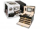 Afbeelding van Luxe Sieradenbox met Spiegel 8 Compartimenten Prachtig & Slijtvast Kunstleder