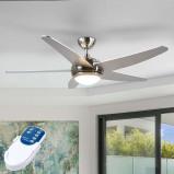 Afbeelding van Anneka zilveren plafondventilator met LED licht, Lampenwelt.com, voor woon / eetkamer, mdf, glas, metaal, 20 W, energie efficiëntie: A++, H: 37.2 cm