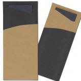 Afbeelding van BIO Bestekzakje Kraft & zwart met tissue servet