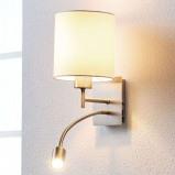 Afbeelding van Aantrekkelijke textiel wandlamp Camilo m. leeslamp, Lampenwelt.com, voor woon / eetkamer, textiel, metaal, E27, 60 W, energie efficiëntie: A++, B: 16 cm, H: 28 cm