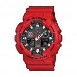 Afbeelding van Casio G Shock GA 100B 4AER Classic horloge herenhorloge Rood