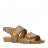 Afbeelding van Clic leren sandalen bruin/oranje