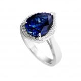 Afbeelding van Diamonfire Zilveren Entourage Ring Maat 19.0 Blauwe Steen Druppelvorm Pavé Rand 814.0241.19