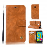 """Bilde av """"Alcatel U5 beskyttelses deksel i syntetisk skinn med gammeldags stil brun"""""""