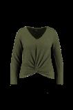 Image de FSTVL by MS Mode Mesdames T shirt manches longues au décor boutonné Vert