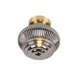 Image of Art Deco Ceiling Lamp Brass with Smoke Glass Shade Bolsena