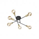 Abbildung von Industrial Ceiling Lamp 6 Black and Brass Sydney