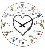 Afbeelding van Nextime Wandklok dia. 35 cm, bol glas, wit, 'Loving you Dome'