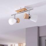 Afbeelding van 2 pits houten plafondlamp Vivica met glas, Lampenwelt.com, voor woon / eetkamer, hout, metaal, E14, 40 W, energie efficiëntie: A++, L: 27.5 cm, B: 8 H: 15 cm