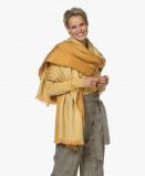 Image of Alpaca Loca Scarf Ochre Yellow/Natural in Alpaca Handmade Two tone