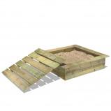 Abbildung von Fatmoose PowerPit Sandkasten mit Deckel für den Garten