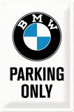 Afbeelding van BMW Parking Only Wit Metalen Wandplaat 20x30cm Wandplaten