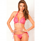 Image of 2PC Lace tie up bra & thong set Pink