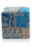 Afbeelding van Coco maison poef royal patchwork blauw 40x40cm