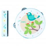 Afbeelding van Angel Toys Muziekset tamboerijn + mondharmonica vogel blauw