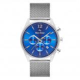 Afbeelding van Mats Meier Grand Cornier chronograaf heren horloge blauw/zilverkleurig mesh