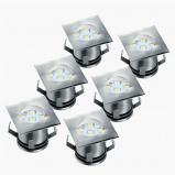 Afbeelding van Smartwares set van 6 LED grondspot inbouwlamp Ranex, voor woon / eetkamer, metaal, glas, 5 W, energie efficiëntie: A+, L: 3.2 cm, B: cm