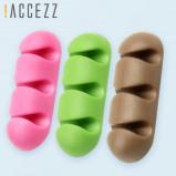 Εικόνα του !ACCEZZ Cable Organizer Wire Winder Headphone Holder Mouse Cord 3 Holes Silicone Clips USB Cables For iPhone Desktop Management
