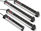 Abbildung von 10 fach Aluminium Steckdosenleiste mit Überspannungsschutz und Schalter