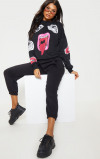 Imagine din Abstract Face Printed Black Jumper