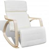 Afbeelding van vidaXL Schommelstoel met houten frame verstelbaar crème
