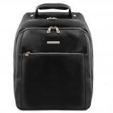 Image de 3 Compartments leather laptop backpack Black