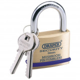 Afbeelding van Draper Tools Hangslot met 2 sleutels massief messing 50 mm 64162