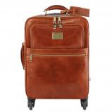 Image de 4 Wheels vertical leather trolley Honey