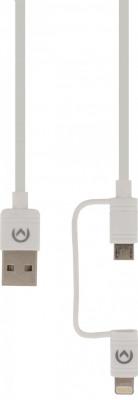 Afbeelding van 2 in 1 Data en Oplaadkabel USB Micro B Male + Lightningadapter A