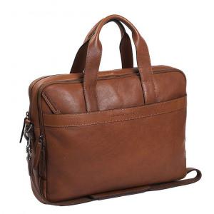 Afbeelding van 2 vaks 15,6 inch laptop business herentas DUKE Soft Class cognac