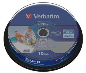 Afbeelding van 1x10 Verbatim BD R Blu Ray 25GB 6x Speed DL Wide Printable CB